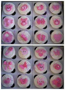 cupcakes baby pink collage